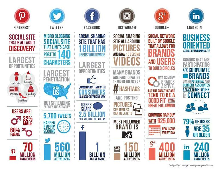 Social media userbase infographic