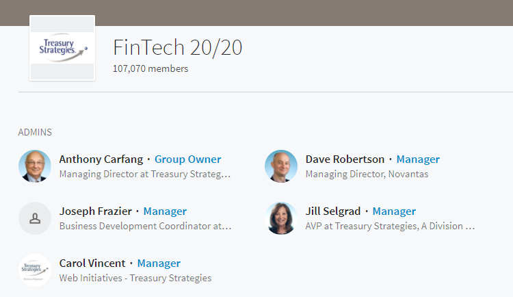 LinkedIn groups for fintech marketing