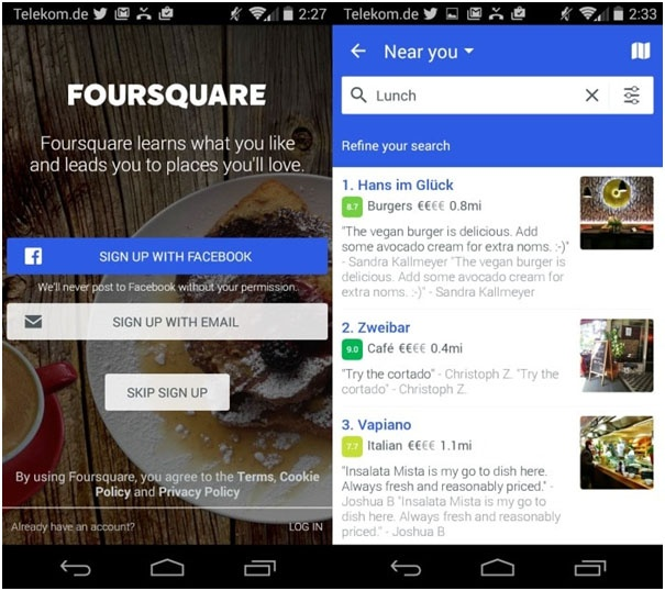 FourSquare-in-product-marketing-example