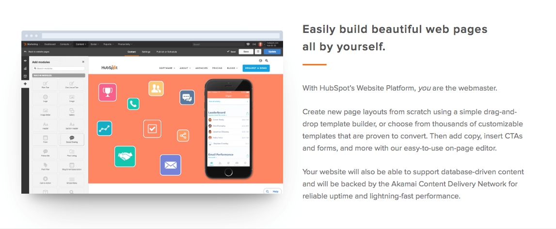 Hubspot web page builder