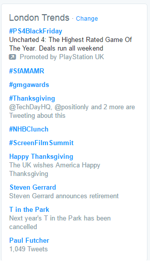 London twitter trends on Thanksgiving 2016