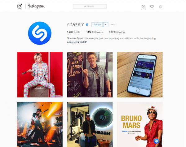 Shazam Instagram feed