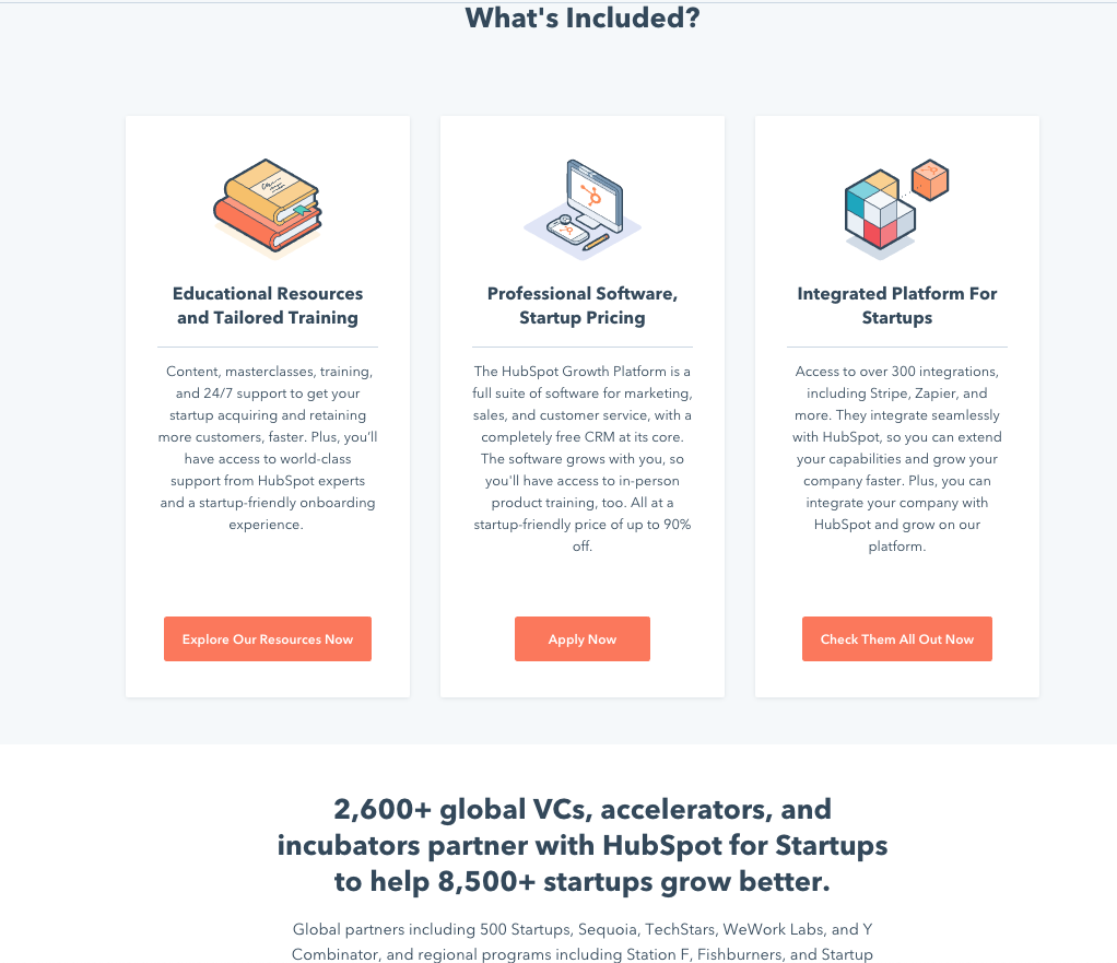 What's included in HubSpot for Startups