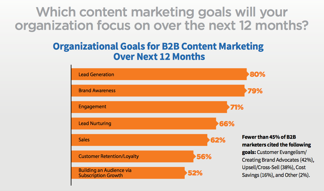 B2B content marketers are focusing on lead generation and brand awareness in 2017.