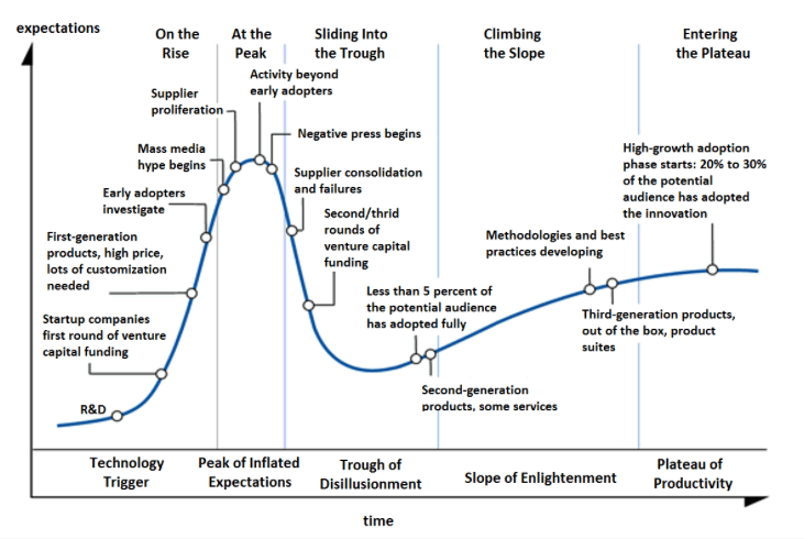 Gartner's Hype Cycle can help us identify the ideal point to begin implementing growth hacking tactics