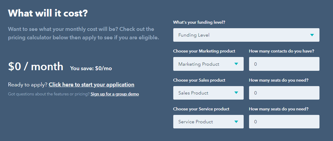 hubSpot for startups pricing calculator