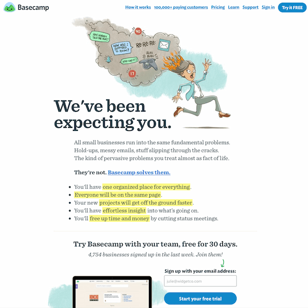 Basecamp's homepage shows a clear knowledge of inbound marketing website design.