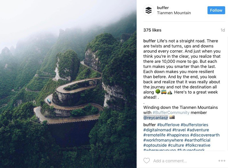 Buffer sourced some amazing images from their community members to use in their social media marketing.