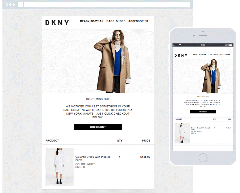 DKNY remarketing targets customers who placed items in their basket, but left before checking out.