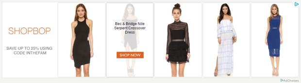 ShopBop remarketing shows customers the exact products they have been browsing