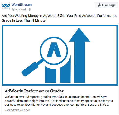 Wordstream used remarketing to offer us a free adwords performance grading service