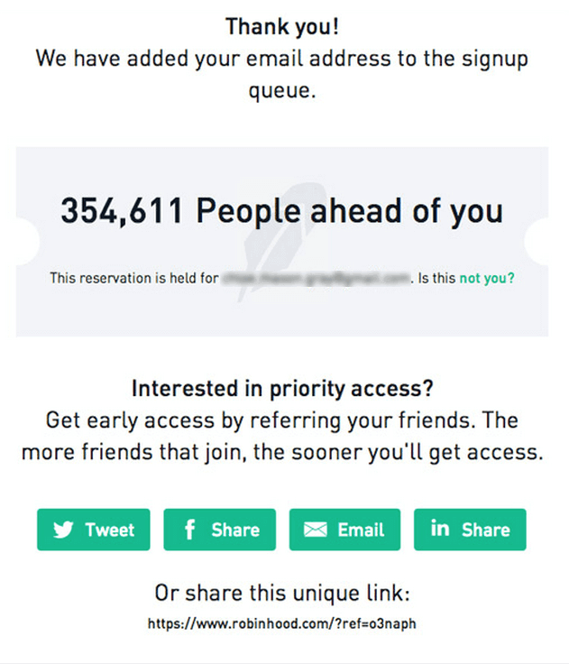 robinhood signup queue email