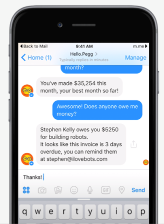 Pegg is a great example of a B2B chatbot adding value to customers