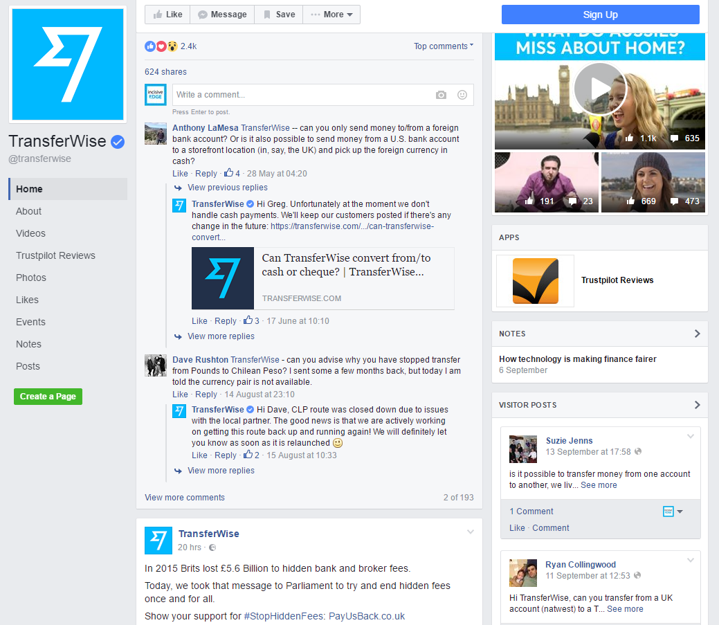 TransferWise Facebook feed