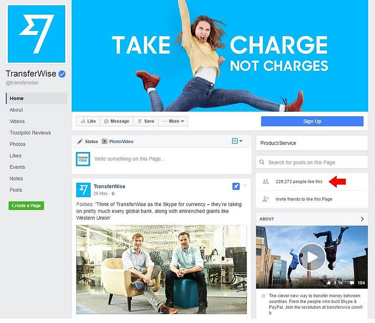 TransferWise Facebook page