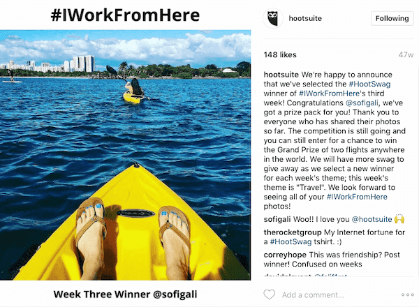 User generated content came from all over the world when Hootsuite conducted its #IWorkFromHere competition.